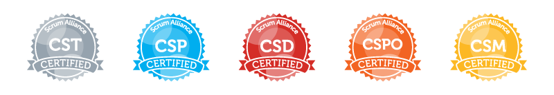 All badges of scrum (csm certified scrum master)